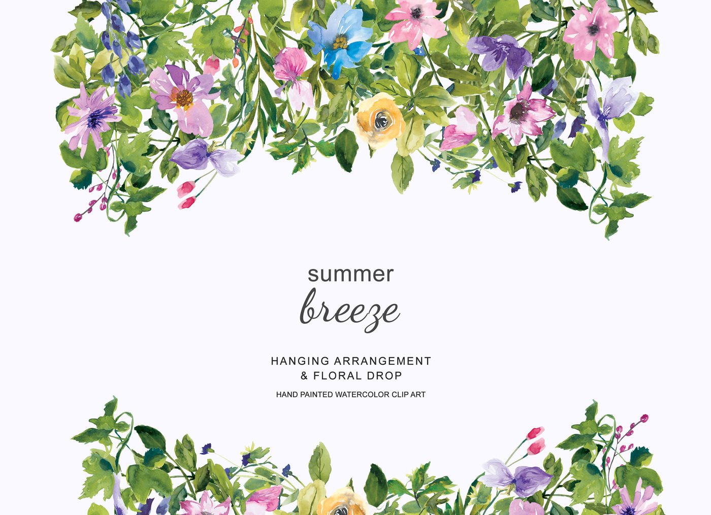 Watercolor Summer Floral Wreath and Drop Clipart By ...