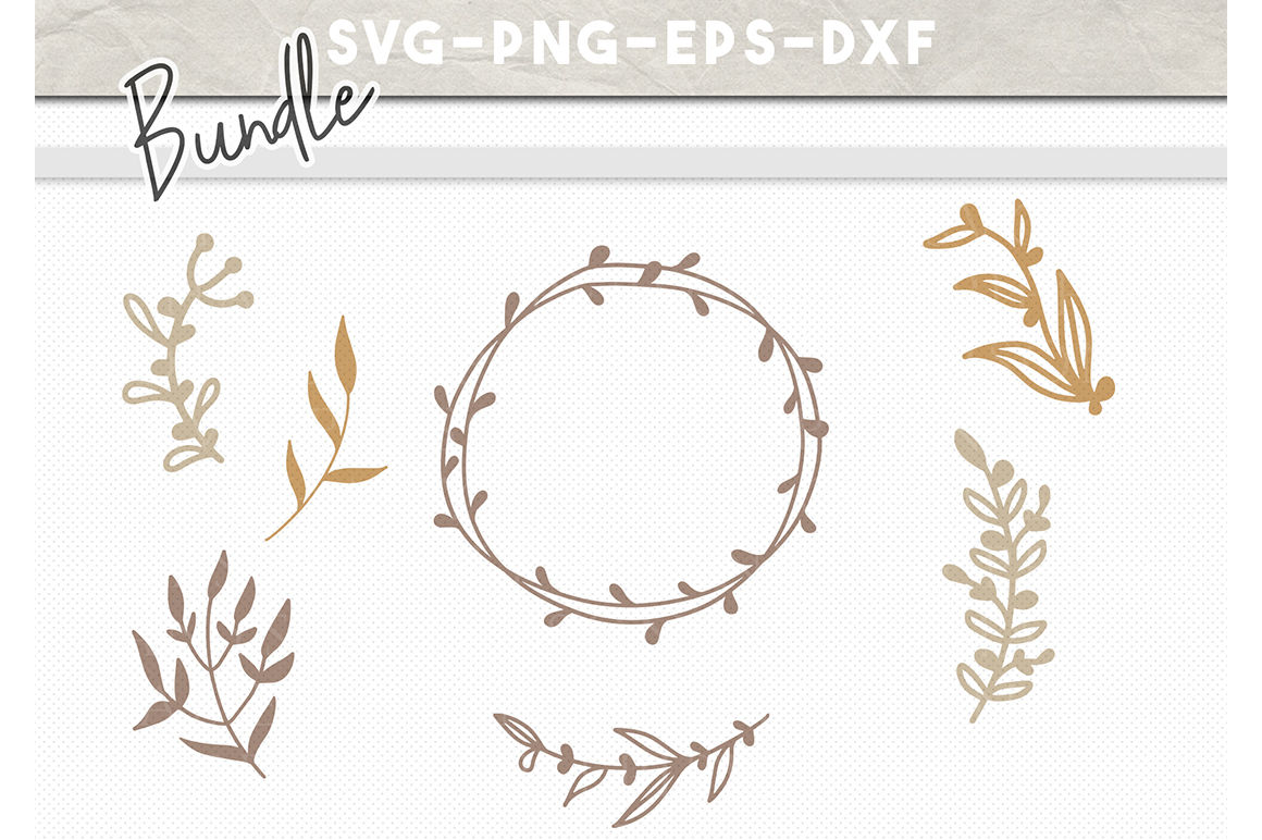 Floral Svg Bundle Handdrawn Wreath Svg Floral Clipart By