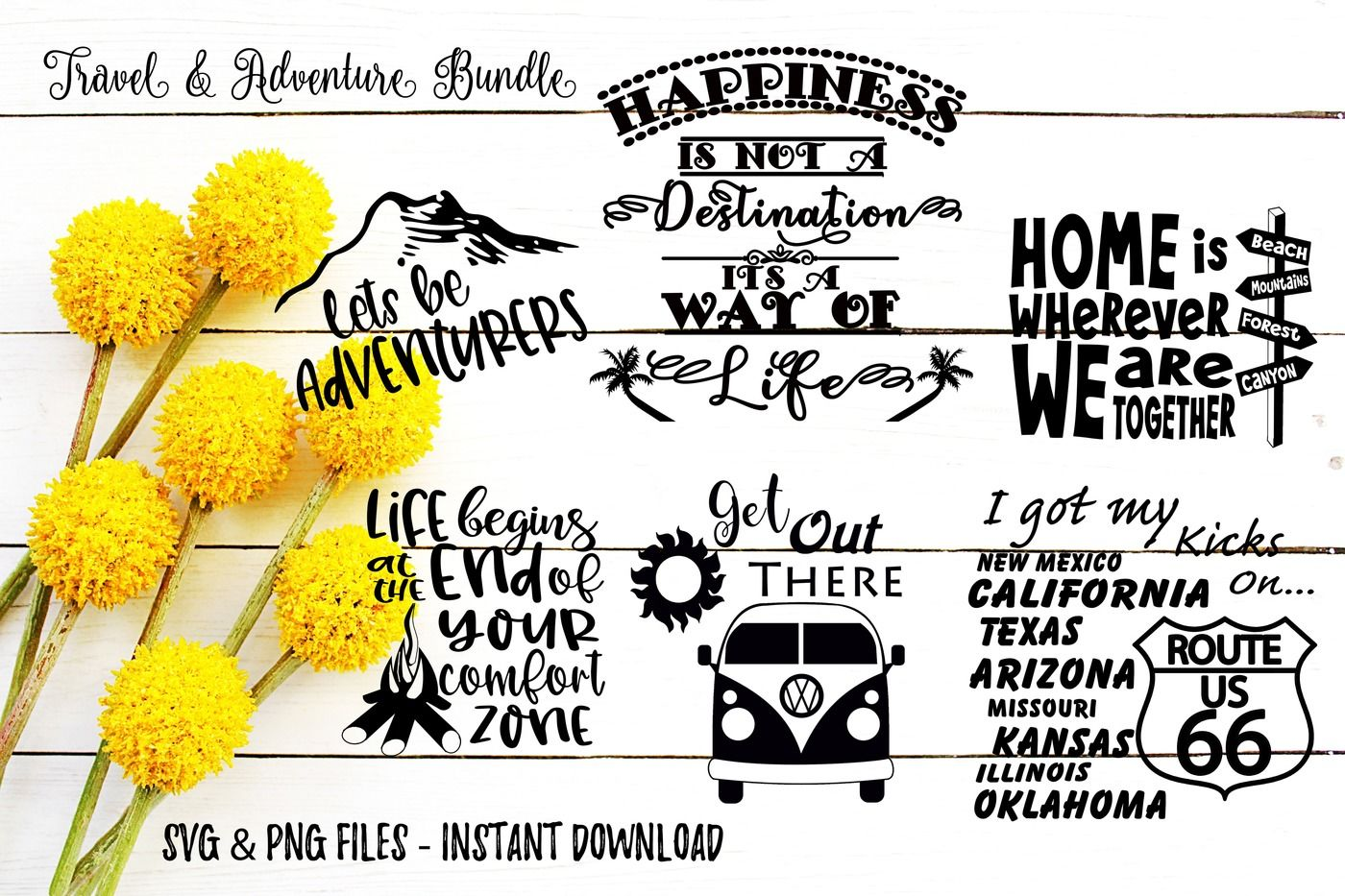Travel Adventure Svg Bundle Cut Or Print Files By Travelin