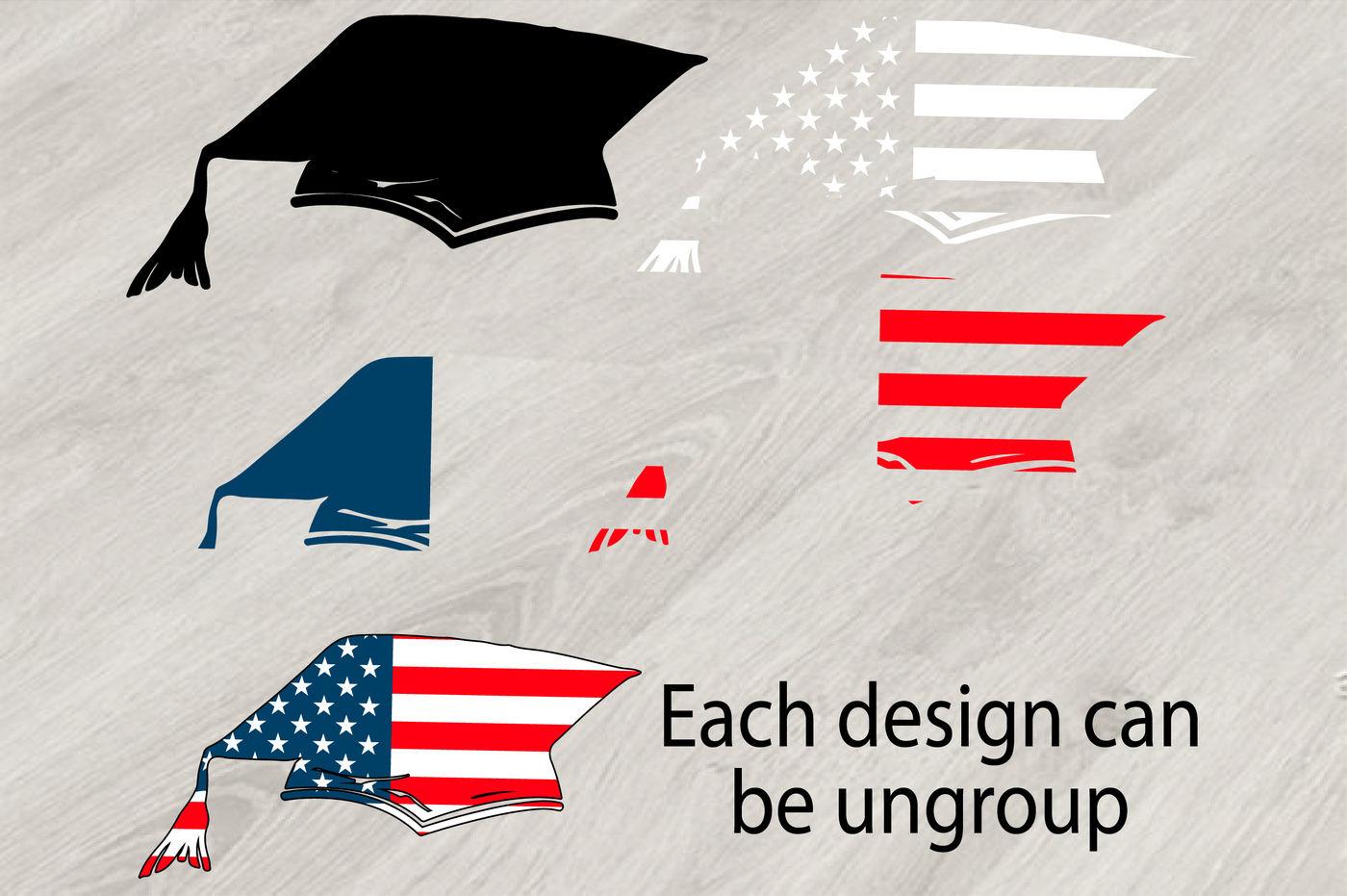 Graduation Hat Silhouette Svg Grad Usa Flag Kindergarten School
