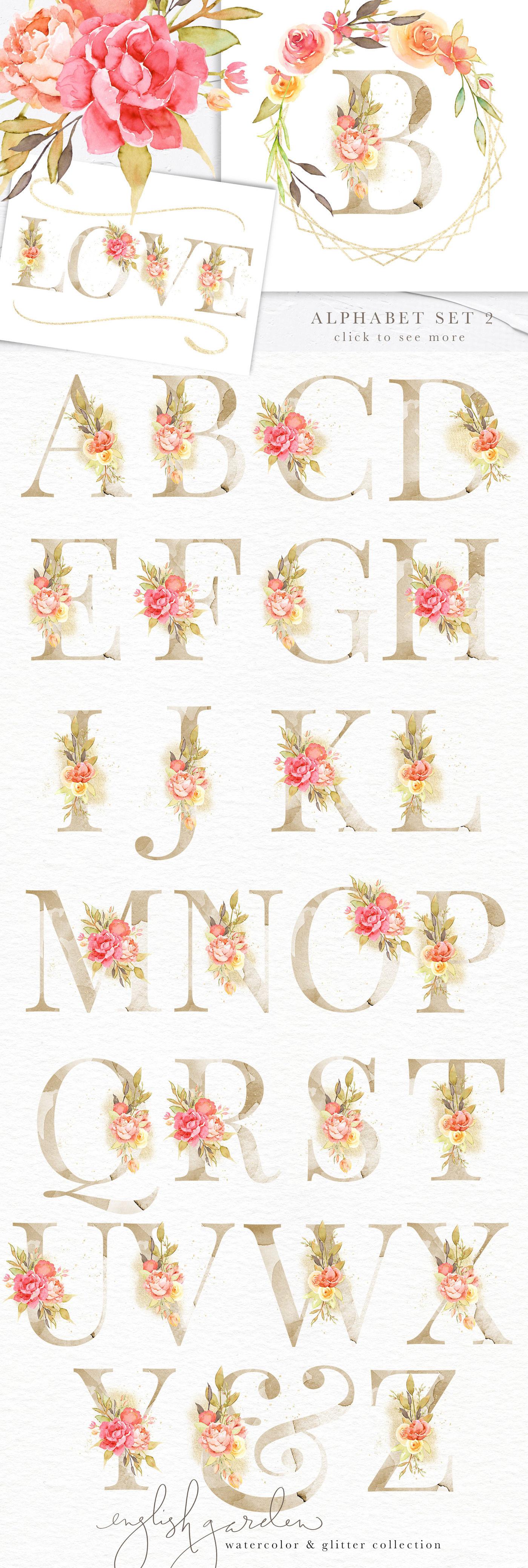 English Garden Watercolor & Glitter Design Elements ...