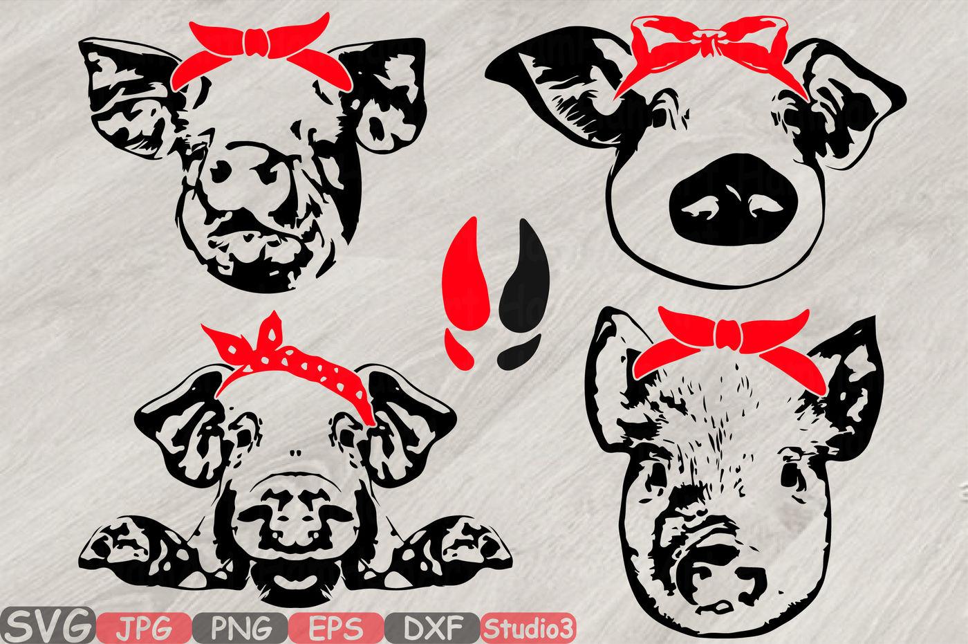 Pig Head Whit Bandana Silhouette Svg Feet Pigs Western Farm 825s By Hamhamart Thehungryjpeg Com