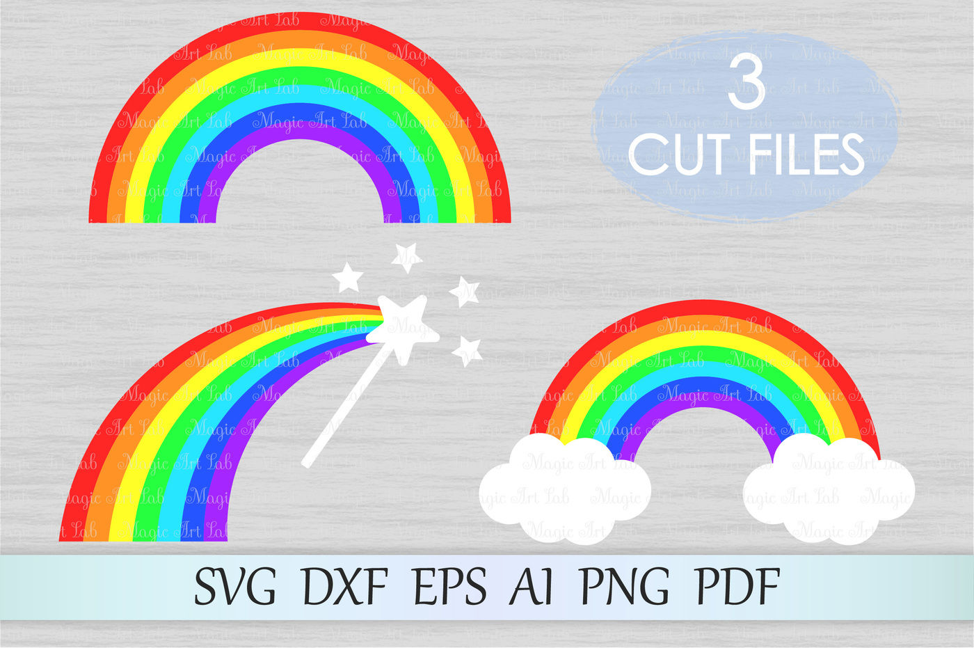 Rainbow With Clouds Magic Wand Svg Dxf Eps Ai Png Pdf By