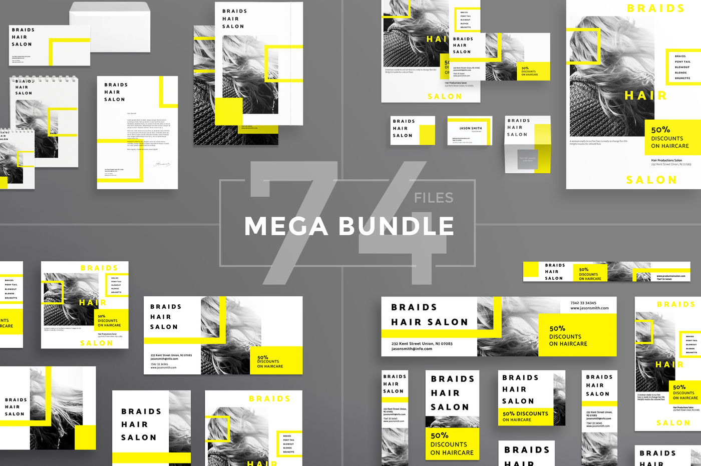 Design Templates Bundle Flyer Banner Branding Hair Salon By Amber Graphics Thehungryjpeg Com