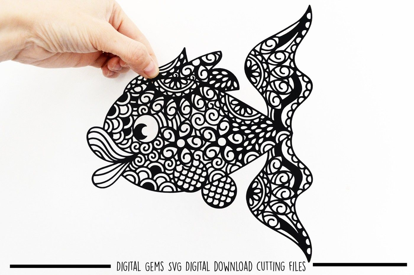 Zentangle Fish Paper Cut Svg Dxf Eps Files By Digital Gems