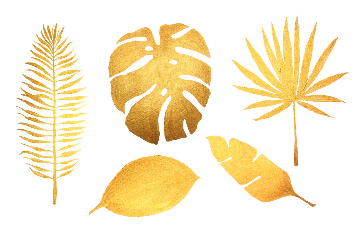 Golden Tropical Leaves By Elena Dorosh Thehungryjpeg Com
