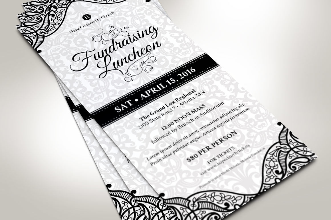 black white luncheon flyer template by godserv designs