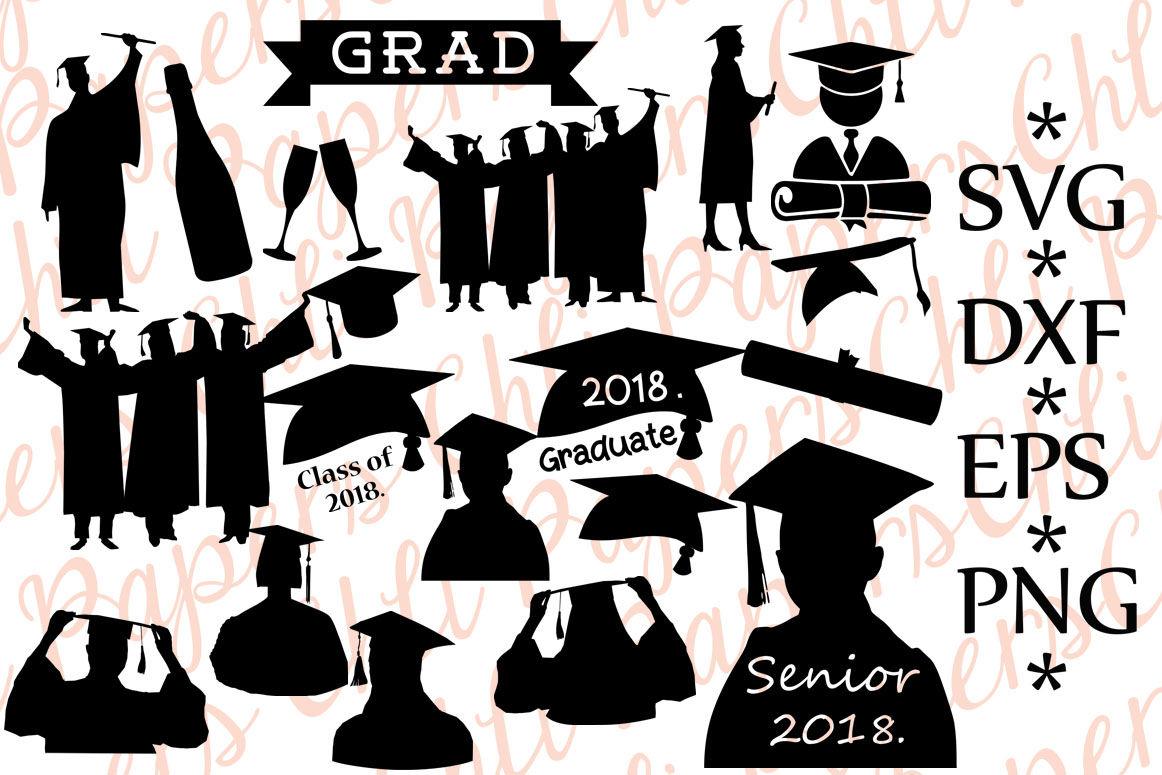 Graduation Silhouette Svg Graduation Cut File Class Of 2018 By