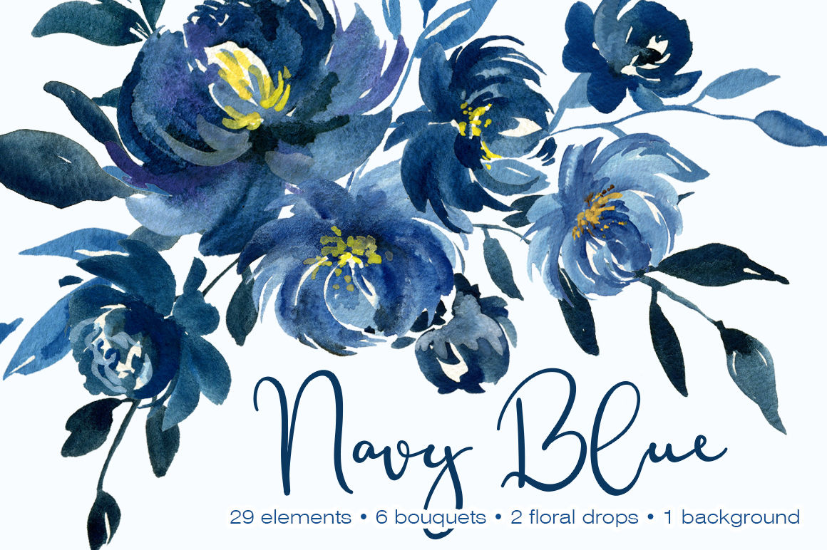 Navy Blue Watercolor Peonies Flowers By Watercolorflowers