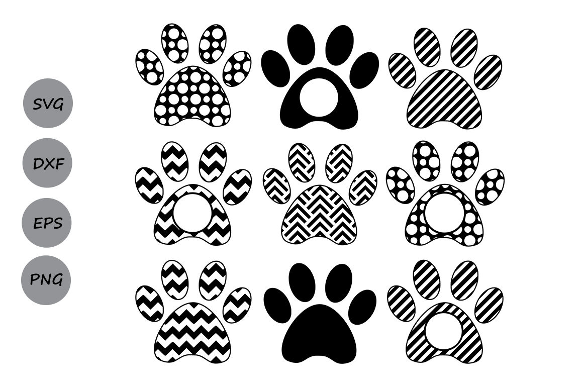 Paw Print Svg Dog Paw Monogram Dog Paw Svg Die Cuts Cutting