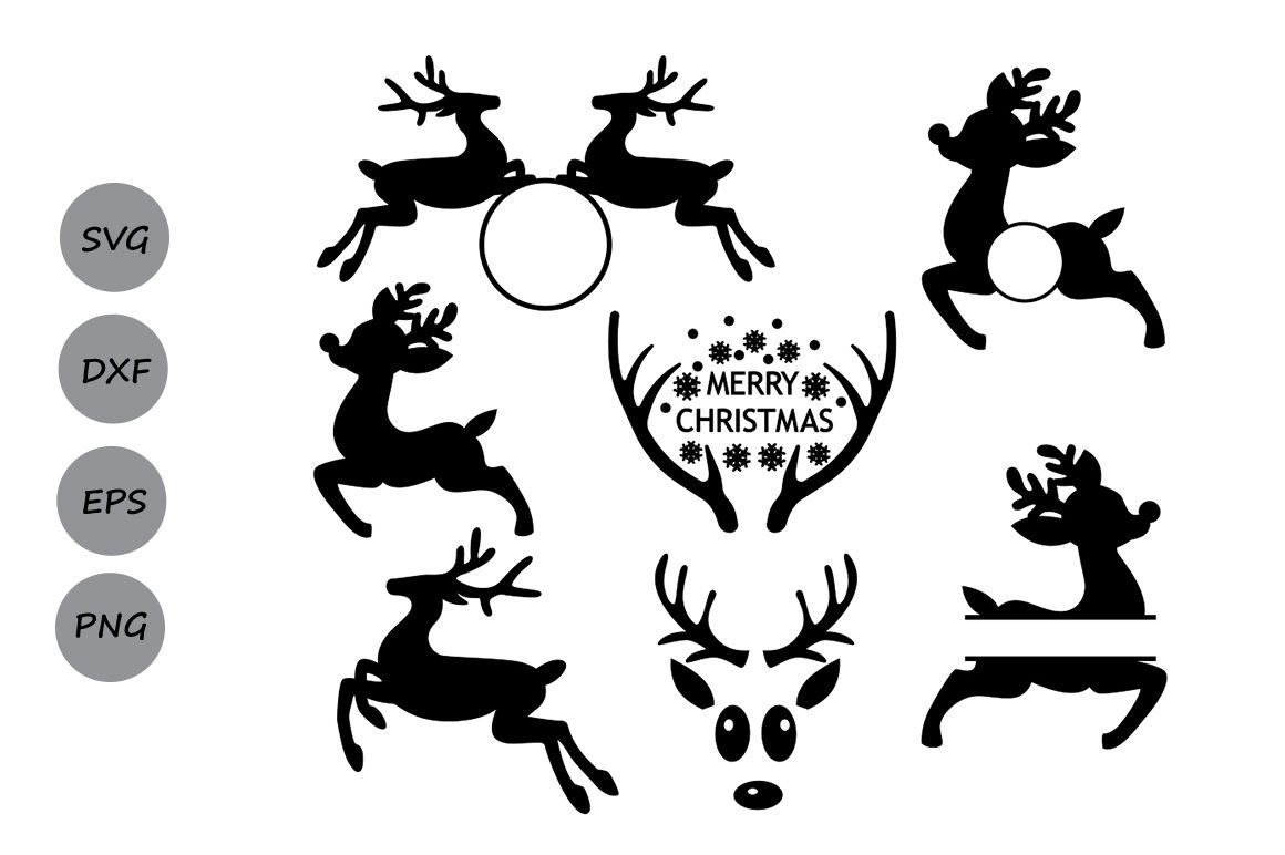 Reindeer Svg Reindeer Monogram Svg Christmas Svg Deer Svg By