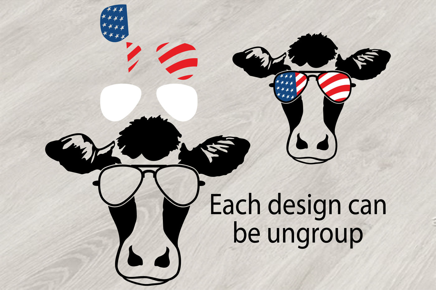 Cow Usa Flag Glasses Silhouette Svg Cowboy Western 4th July 832s