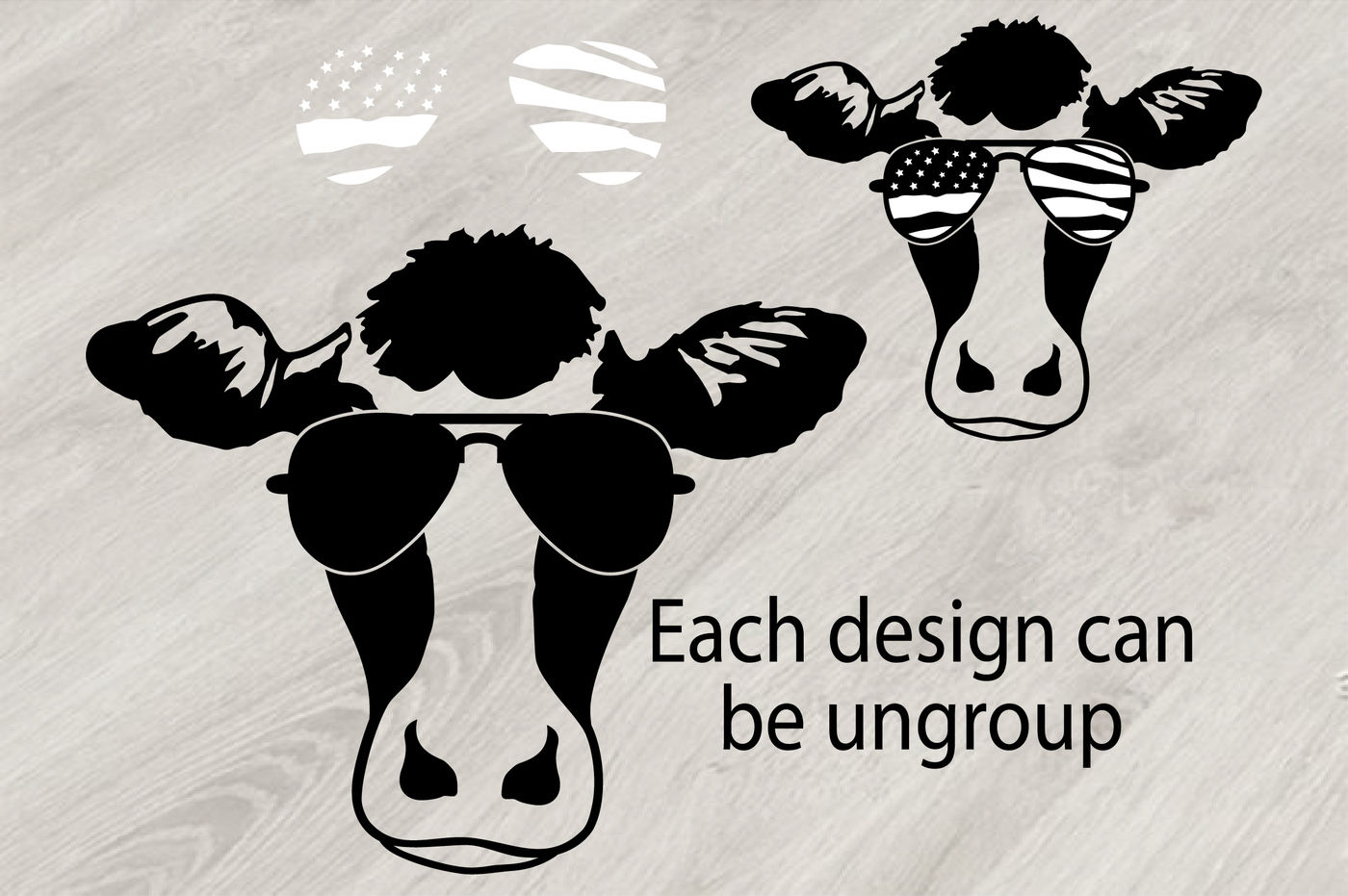 Cow Usa Flag Glasses Silhouette Svg 4th July 833s By Hamhamart Thehungryjpeg Com