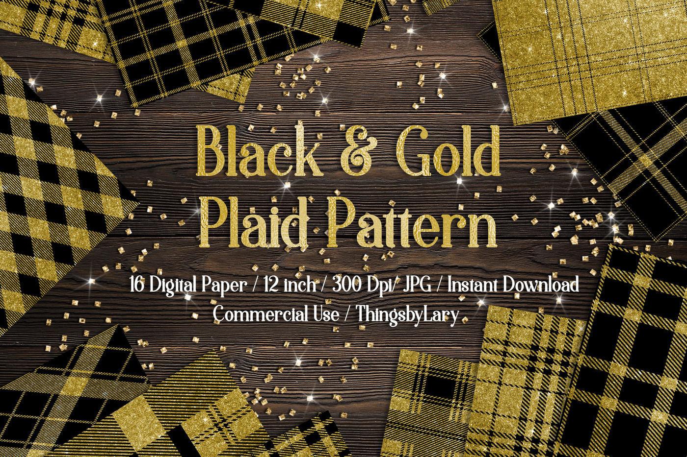 16 Black And Gold Glitter Tartan Plaid Gingham Check Digital