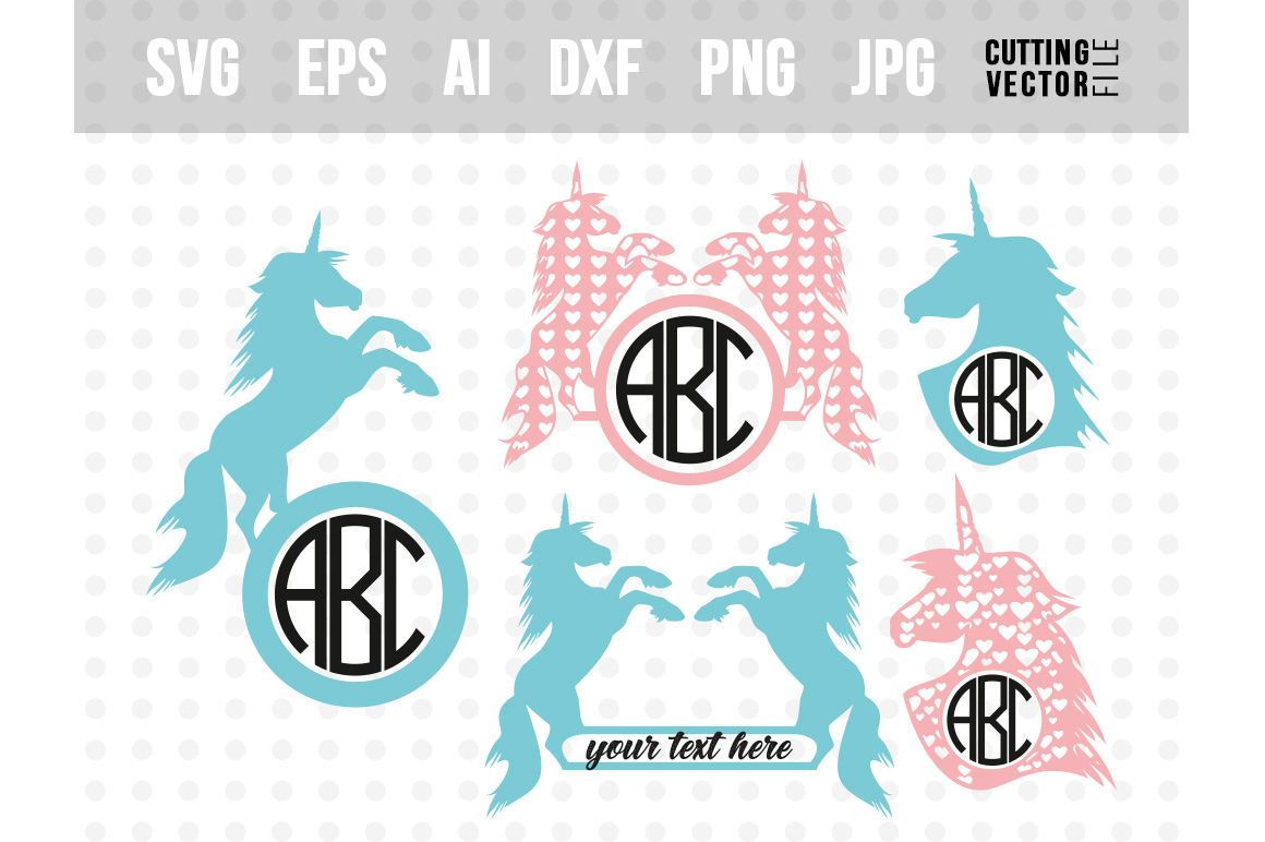 Unicorn Vector Bundle Svg Eps Ai Dxf Png Jpg By