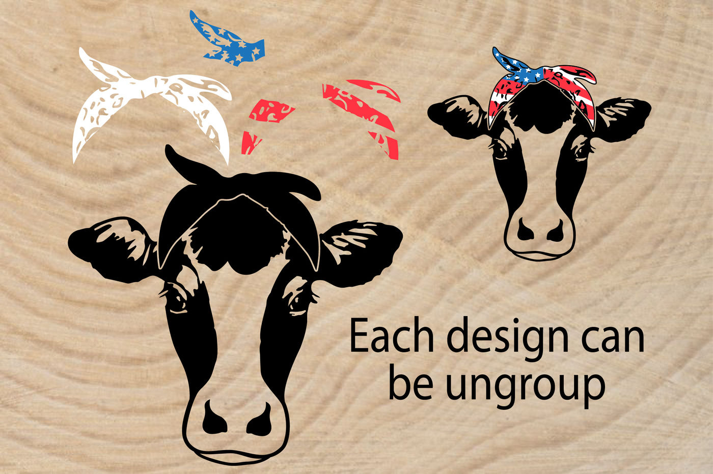 Cow Usa Flag Bandana Silhouette Svg 4th July Farm Milk 836s By Hamhamart Thehungryjpeg Com