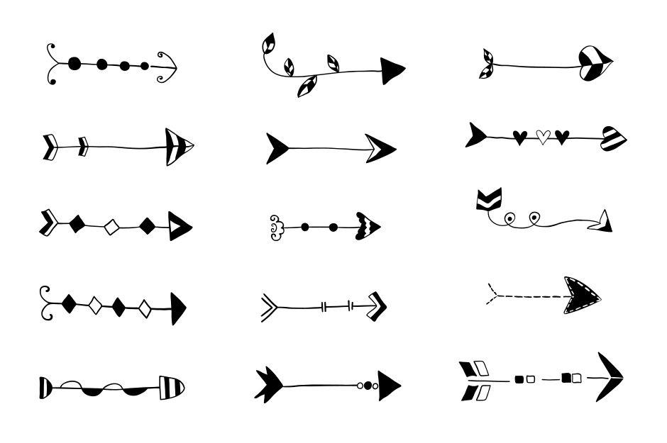 Tribal hand drawn arrows clipart, Doodle wedding arrow ...