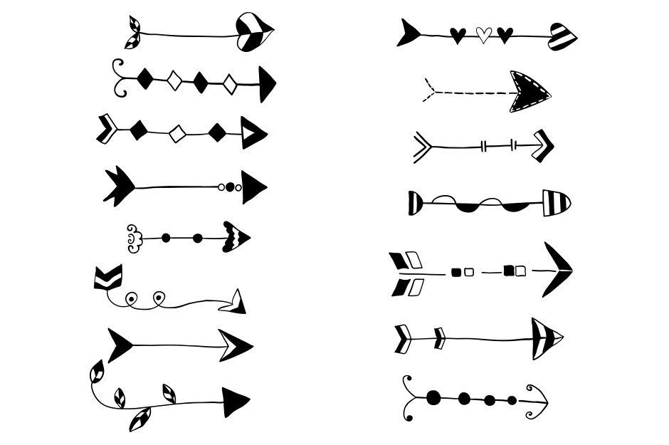Arrow hand drawn. Tribal arrows clipart doodle