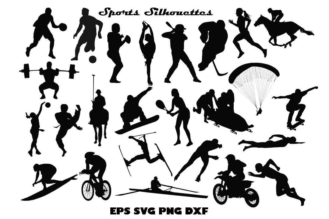 Sports Silhouette Eps Svg Dxf Png By Twelvepapers Thehungryjpeg Com