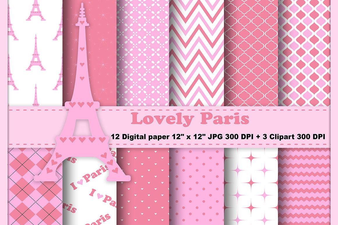 Paris Digital Paper Eiffel Tower Background Travel Background