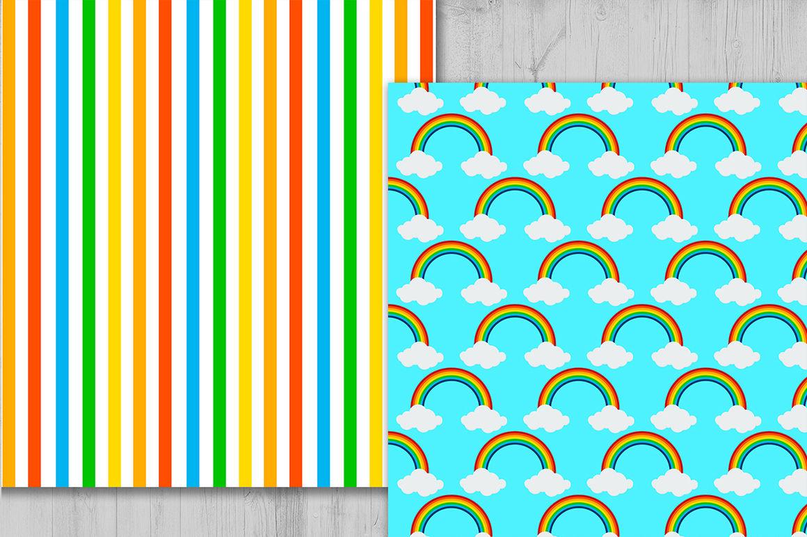 Rainbow Digital Paper Cloud Background Rainbow Pattern