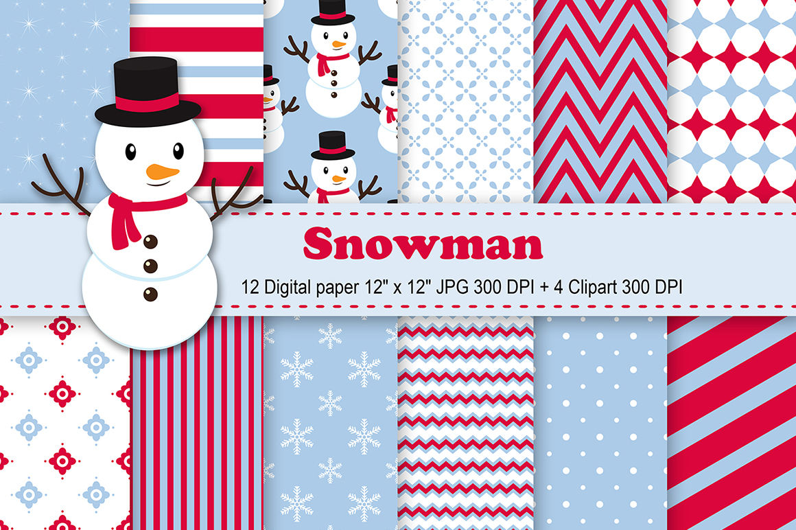 Snowman Digital Paper Christmas Background Snowflakes Background