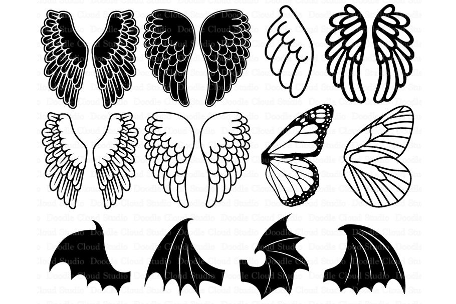 Angel Wings Svg Bat Wings Monarch Butterfly Wing Svg By Doodle