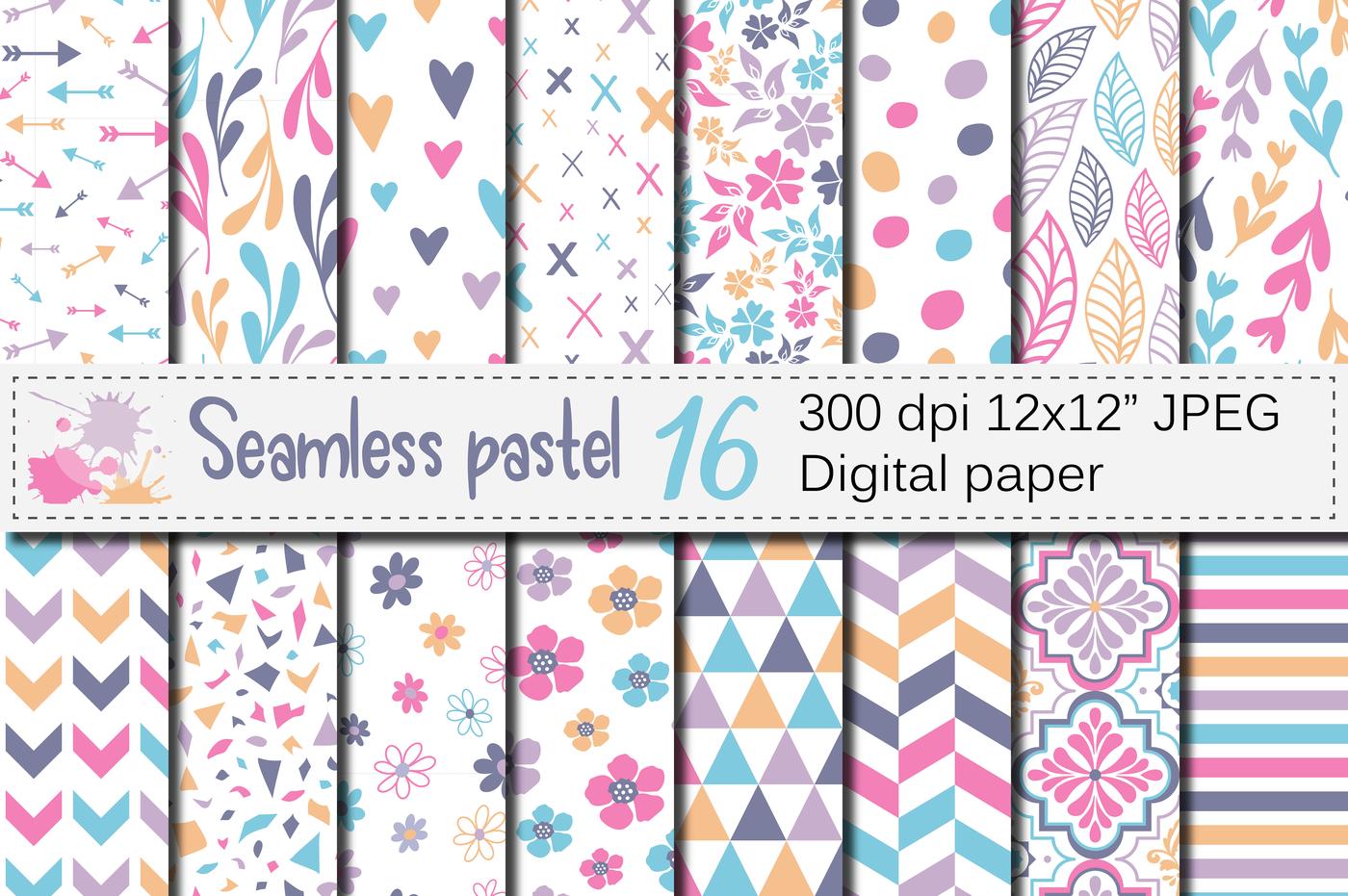 Seamless Pastel Patterns Pastel Geometric And Floral Digital