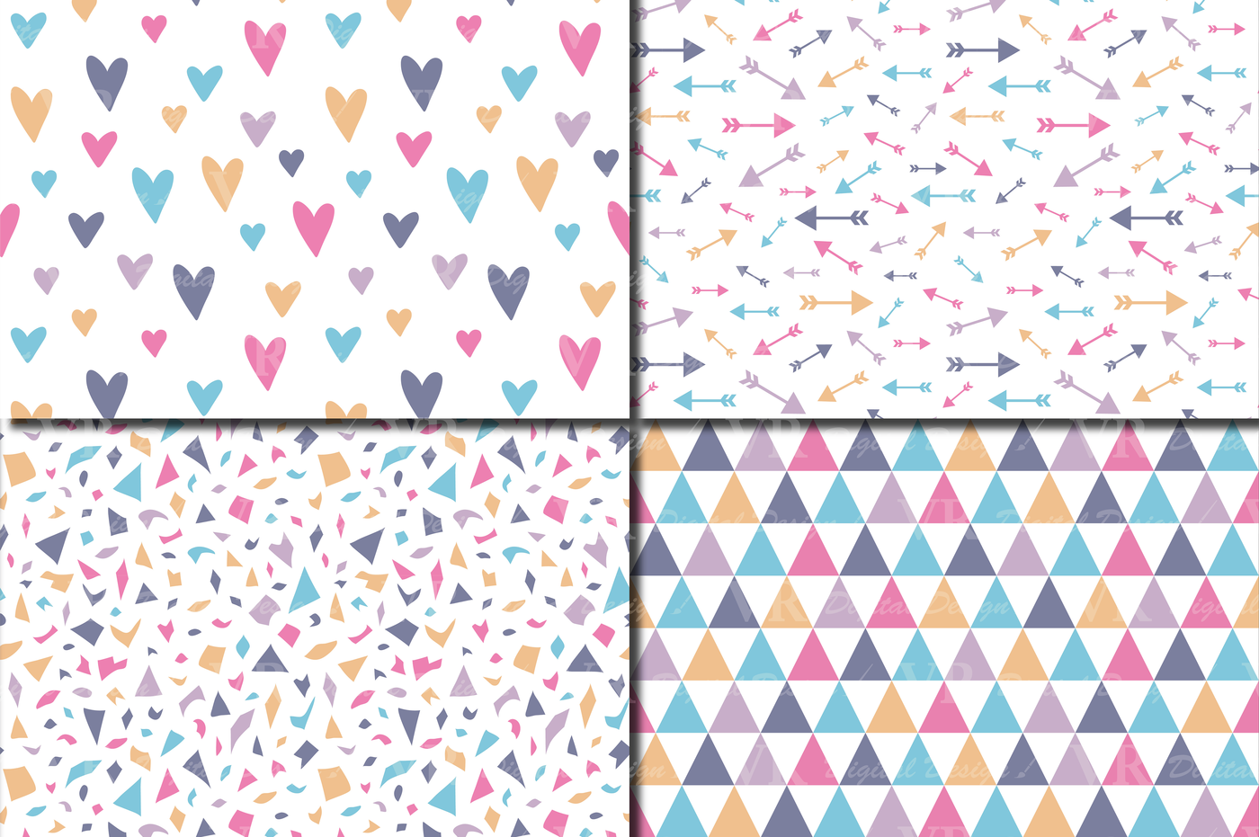 Seamless Pastel Patterns Pastel Geometric And Floral Digital