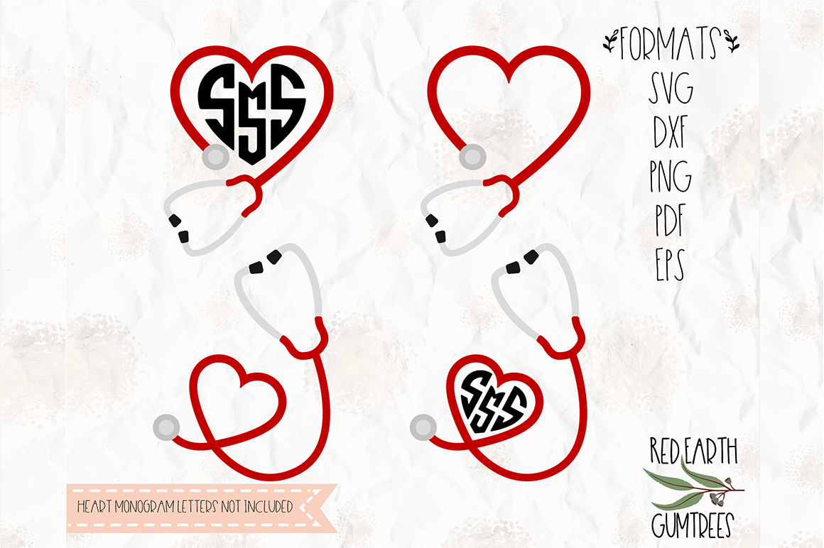 Stethoscope Nurse Monogram Svg Png Eps Dxf Pdf For Cricut
