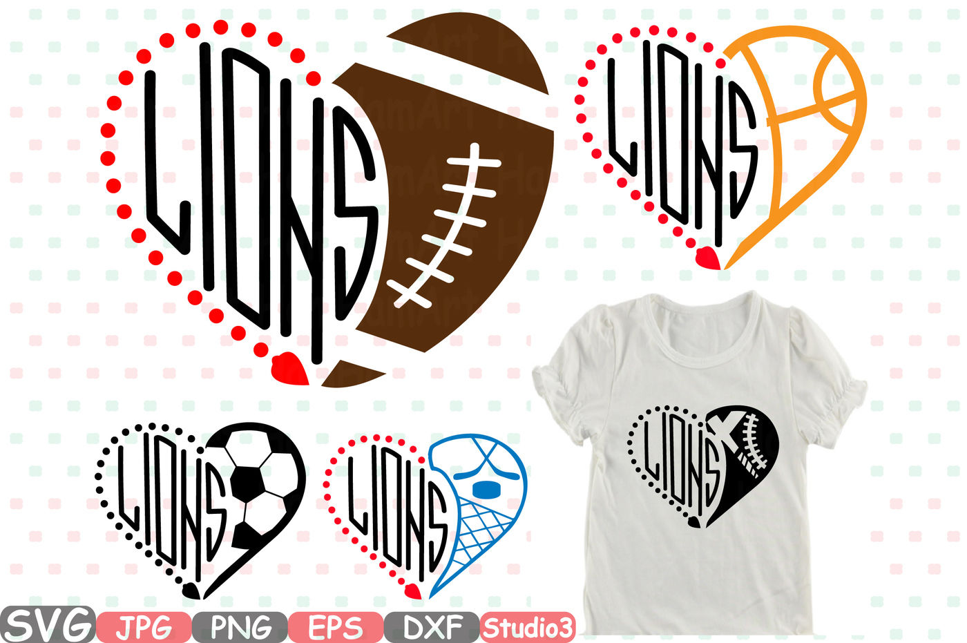 Lions Detroit Sport Silhouette Svg Nfl Nba Mlb Ncaaf 844s By