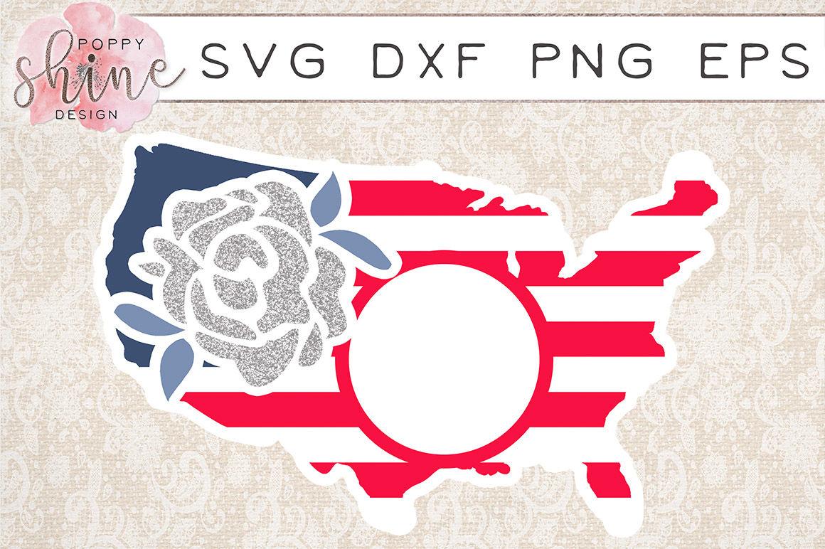United States Rose Monogram Frame SVG PNG EPS DXF Cutting