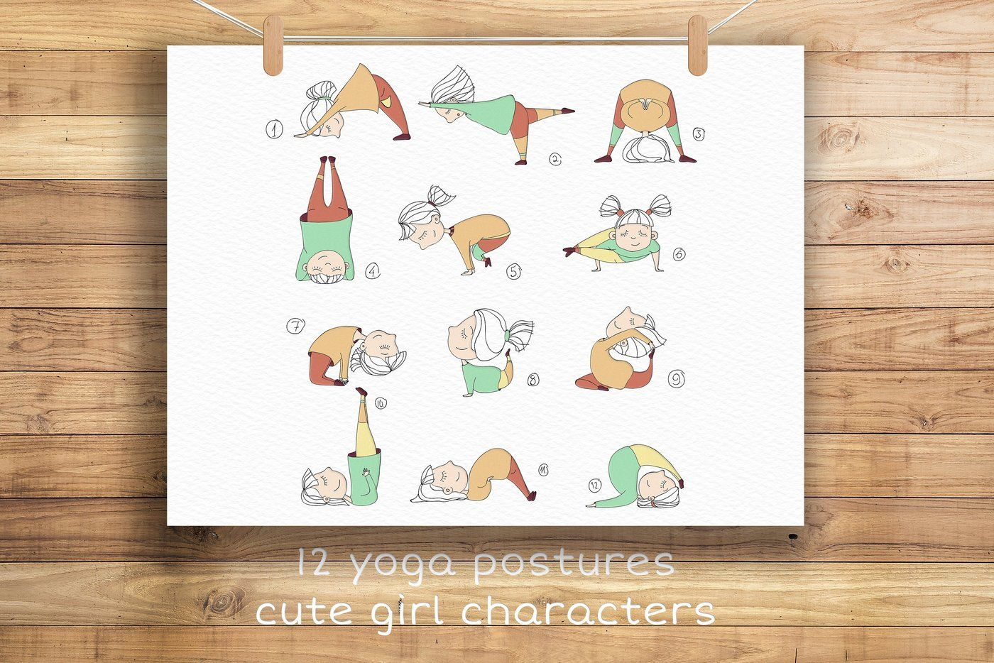 Yoga Poses With Cute Girl Character By Carrotdesign