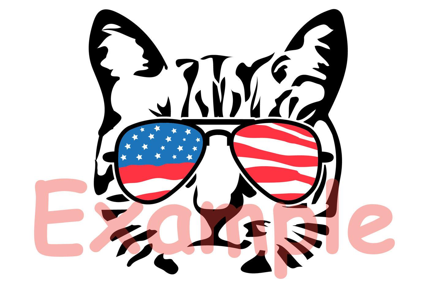 Cat Usa Flag Glasses Silhouette Svg Farm Kitten Kitty 4th July