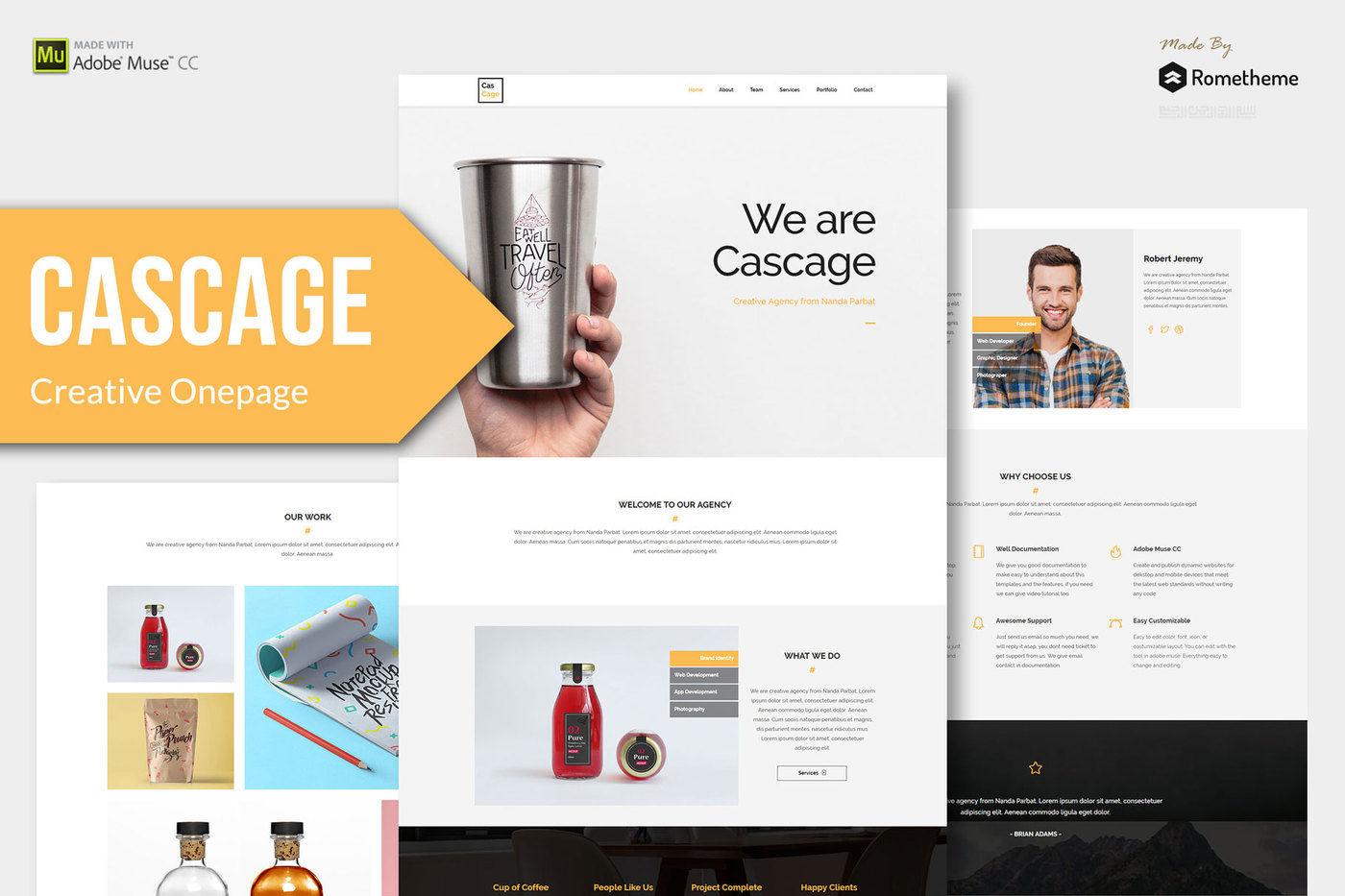Cascage - Adobe Muse Template By Rometheme | TheHungryJPEG com