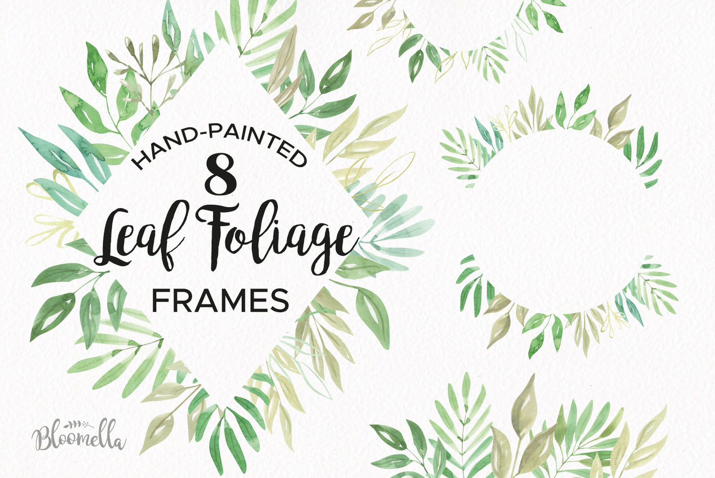 Foliage Watercolor Clipart Frames Greenery Leaves Leaf Pretty By