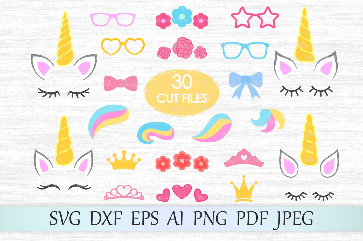 Unicorn Kit Svg Dxf Eps Ai Png Pdf Jpeg By Magicartlab