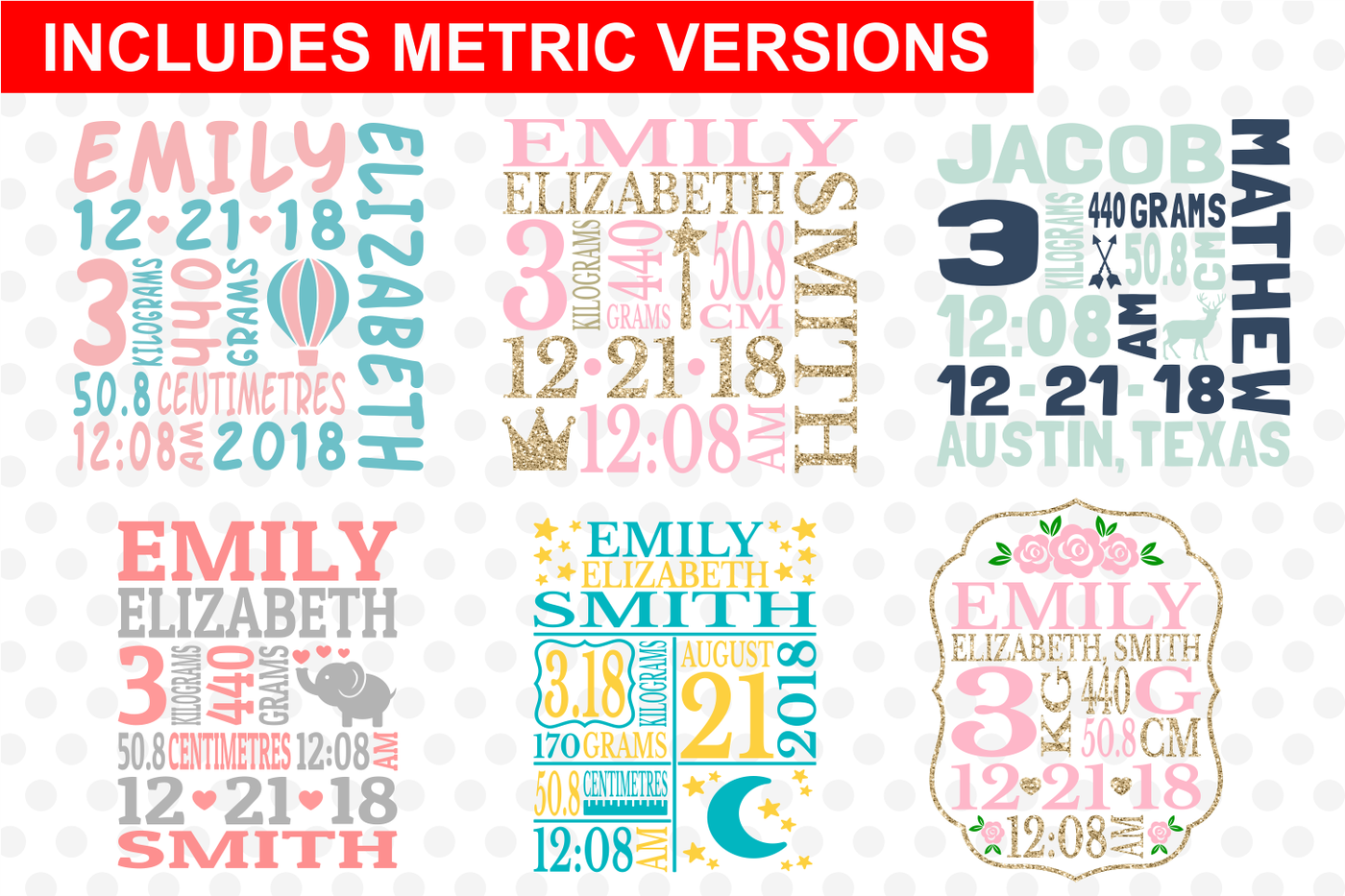 Baby Birth Announcement Bundle Svg Cut Files By Svg Cuttables