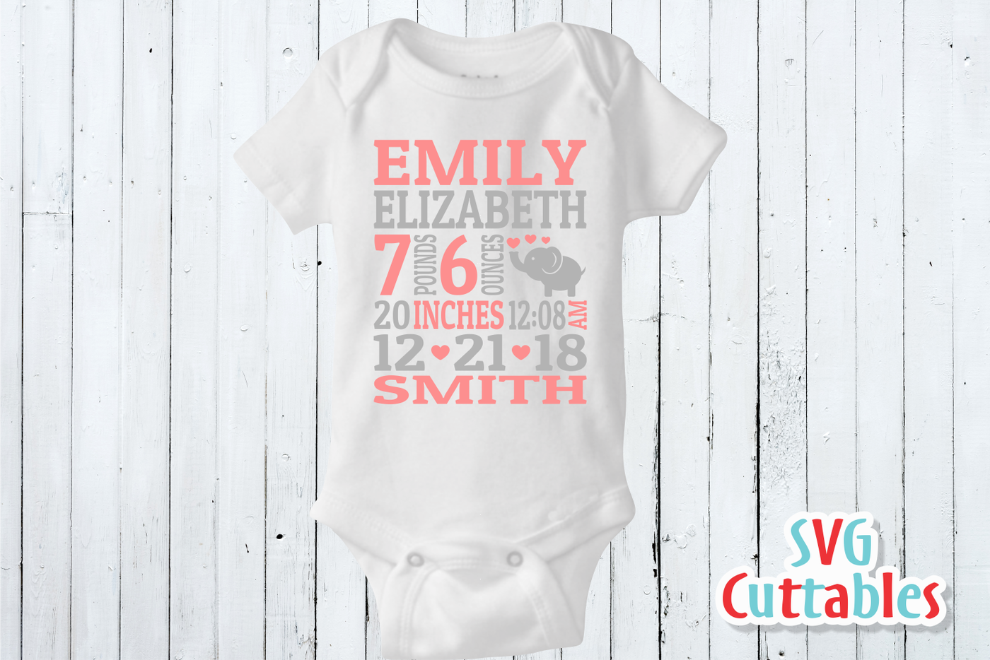 Baby Birth Announcement Elephant Svg Cut File By Svg Cuttables