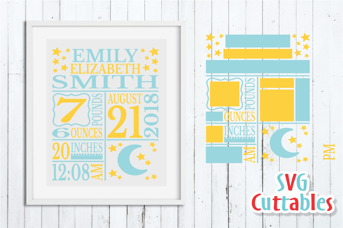 Baby Birth Announcement / Moon and Stars / SVG Cut File By ...