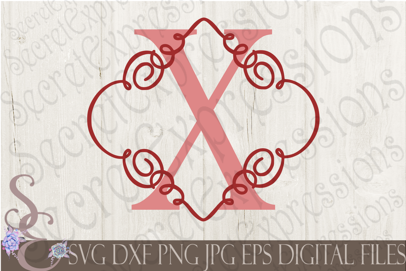 Letter X Initial Swirl Border Monogram Svg By Secretexpressionssvg