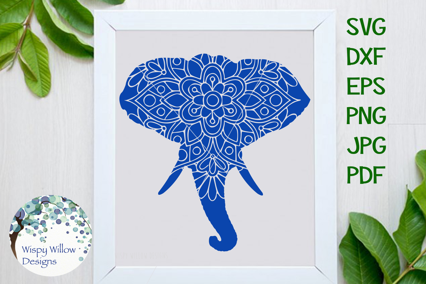 Elephant Mandala Animal Svg Dxf Eps Png Jpg Pdf By Wispy Willow