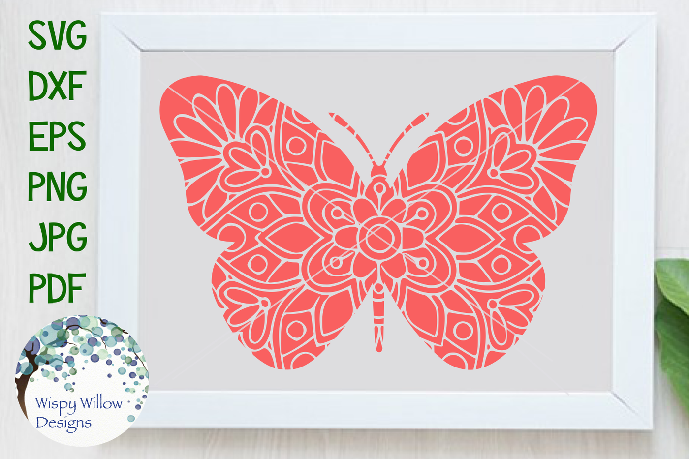 Butterfly Mandala Svg Dxf Eps Png Jpg Pdf By Wispy Willow Designs