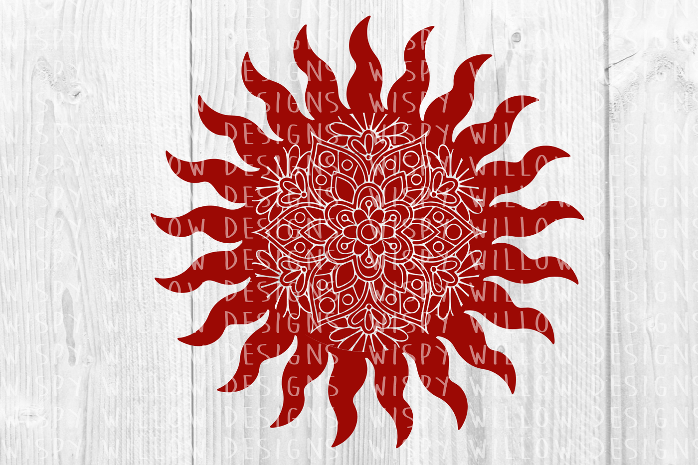 Sun Mandala SVG/DXF/EPS/PNG/JPG/PDF By Wispy Willow Designs
