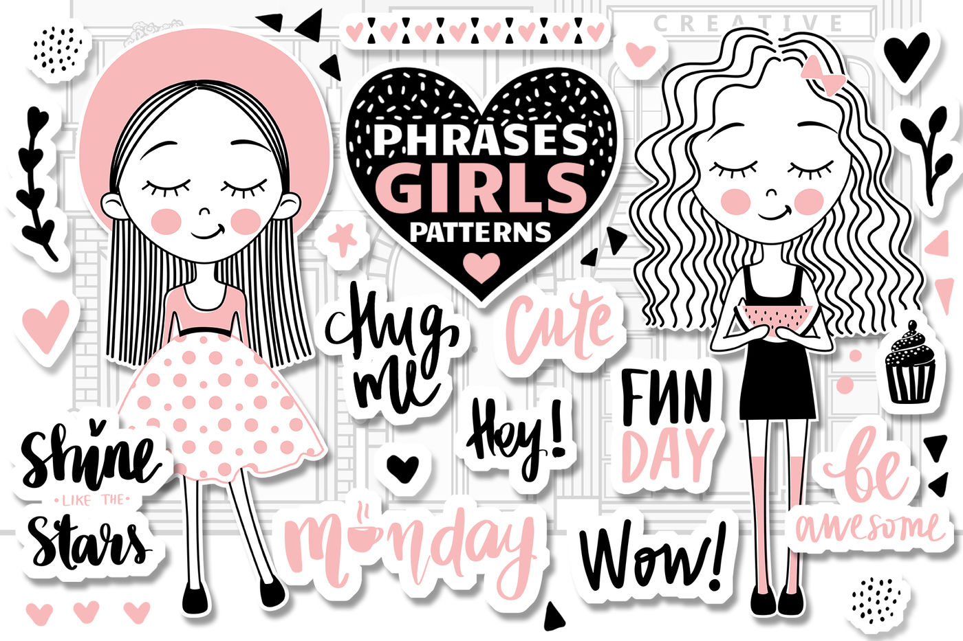 Cute Girls Positive Phrases Patterns By Kvitka Thehungryjpeg Com