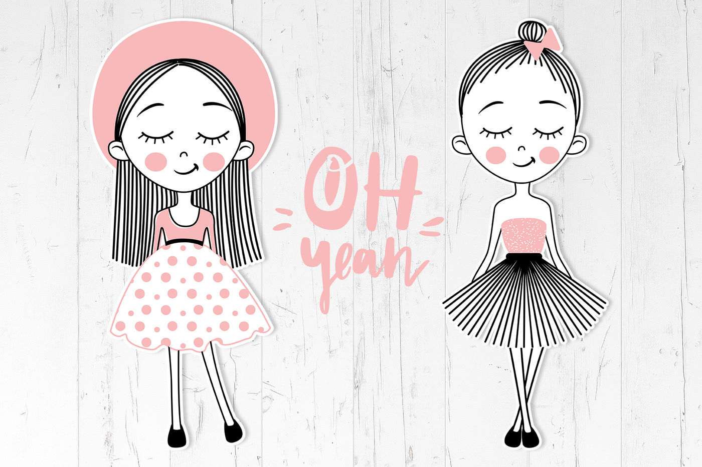 Cute Girls Positive Phrases Patterns By Kvitka Thehungryjpeg Com
