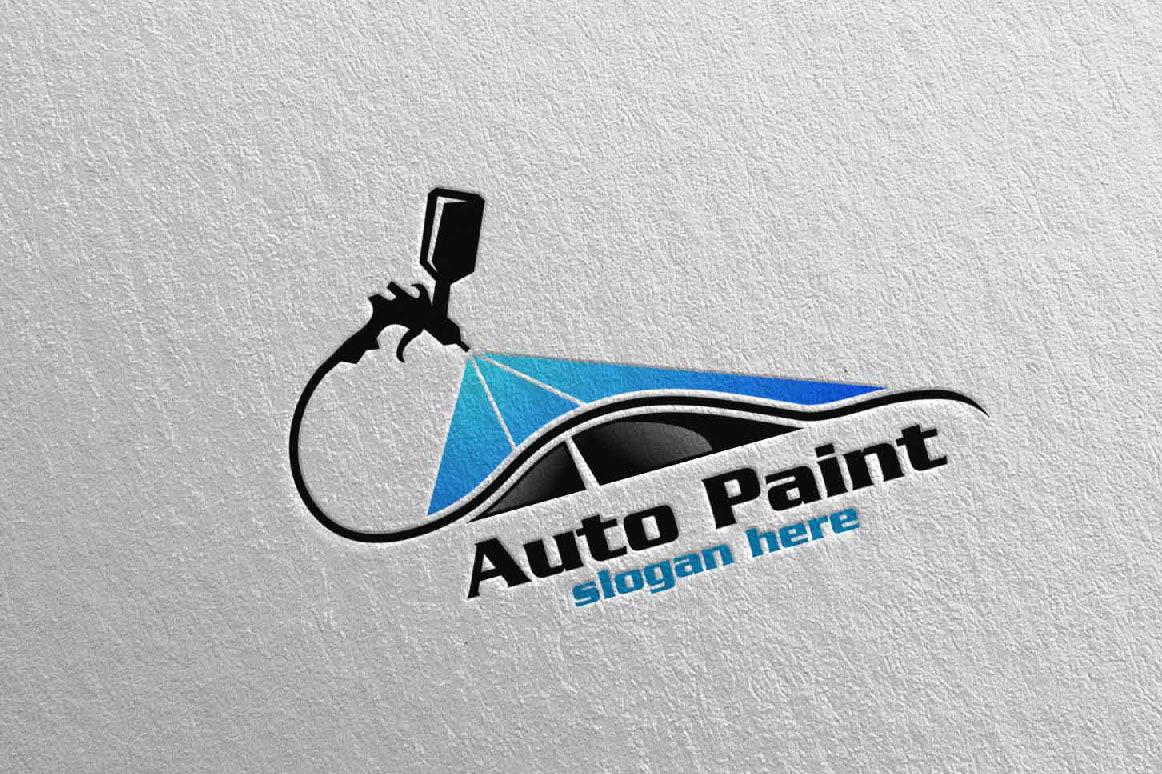 car painting logo with spray gun and sport car concept 1 by denayunethj