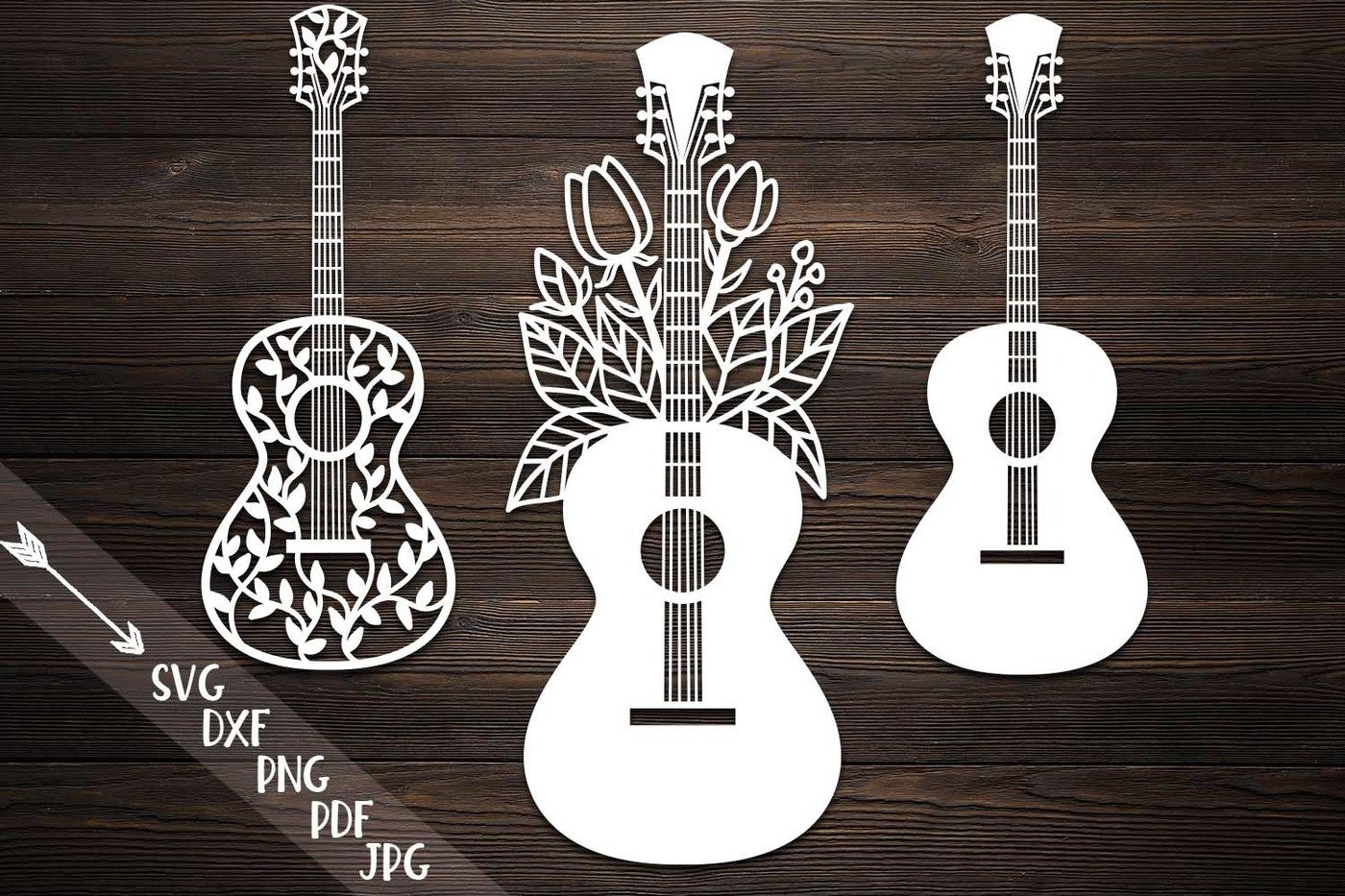 Guitar Svg Papercutting Template Guitar With Flowers Laser