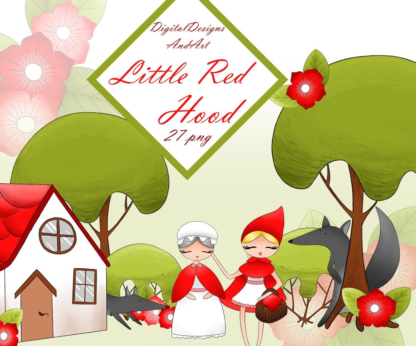 Little Red Riding Hood Clipart By Digitaldesignsandart