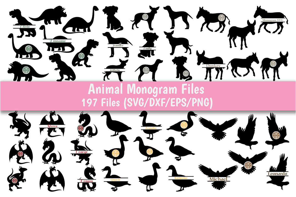Animal Monogram Svg Bundle 29 Packs With 197 Files For Each